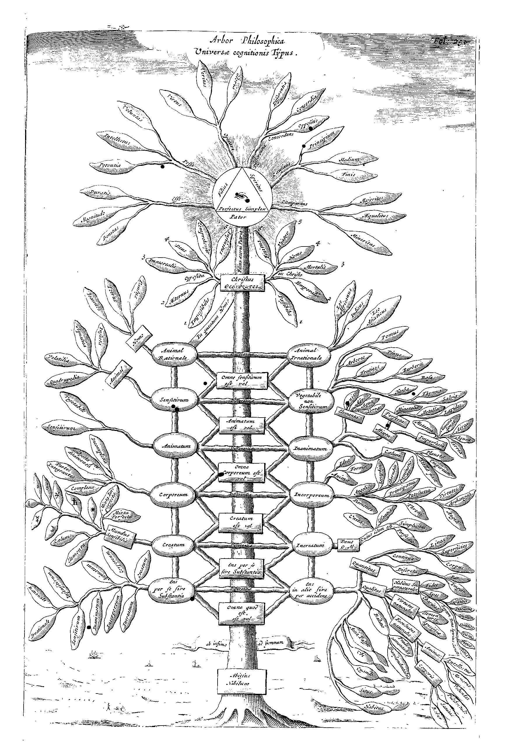 Kircher's Philosophical tree representing all branches of knowledge, from Ars Magna Sciendi (1669), p. 251.