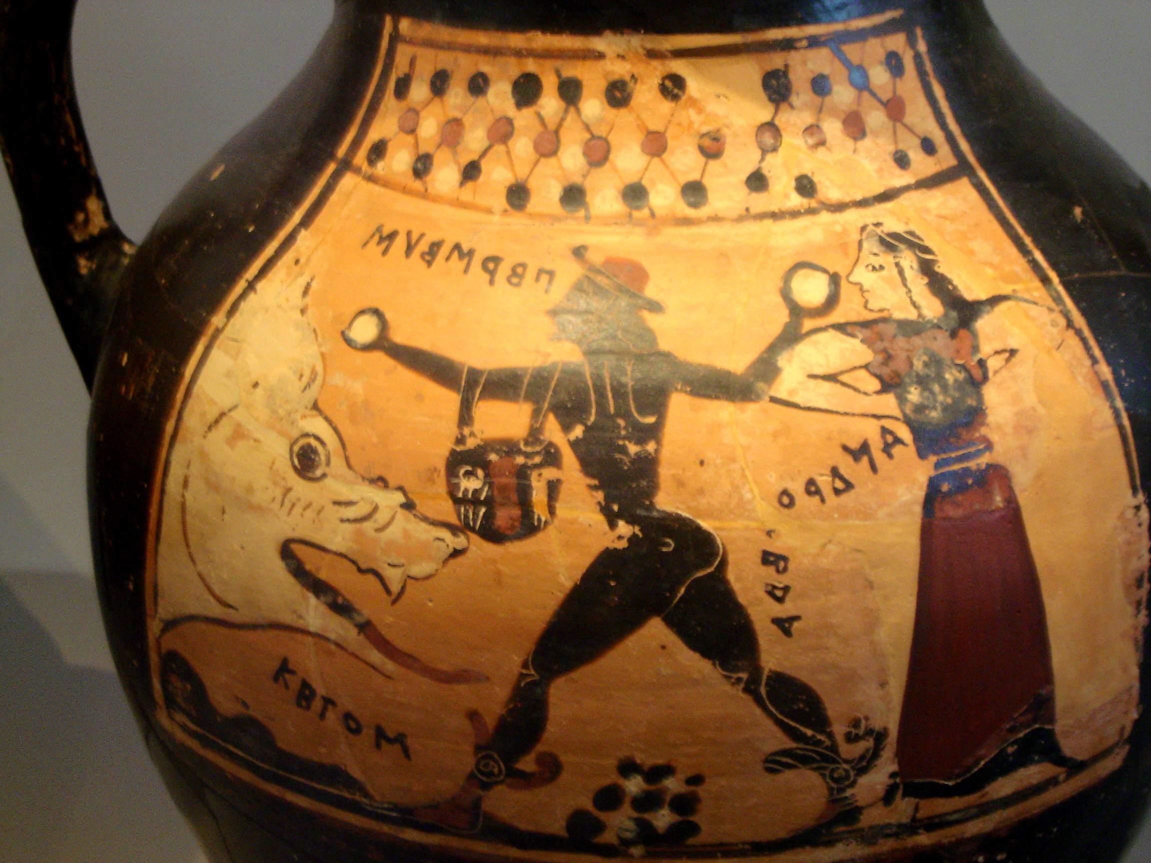 Corinthian vase depicting Perseus, Andromeda and Ketos.